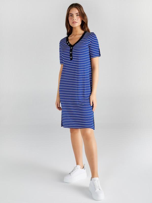 Faik Sönmez Kadın Çizgili V Yaka Örme Elbise 61258
