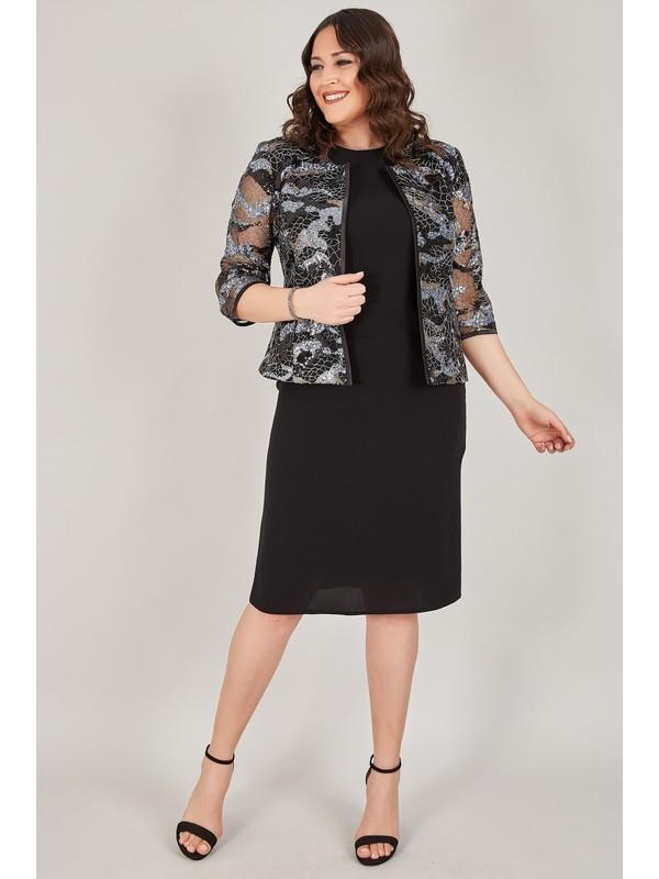 Ladies First Büyük Beden 3427 Siyah Lacivert Pullu Ceket + Etek + Bluz Üçlü Takım