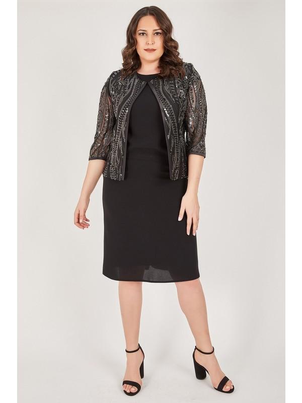 Ladies First Büyük Beden 3429 Siyah Ceket + Etek + Bluz Üçlü Takım