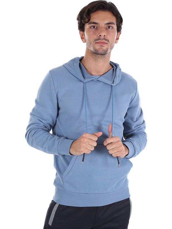 Diandor Slim Fit Kapüşonlu Erkek Sweat A.Mavi/L.Blue 2025113