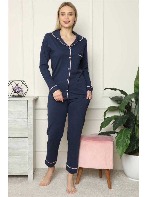 Akbeniz Kadın %100 Pamuk Penye Önden Düğmeli Uzun Kol Pijama Takım 2713
