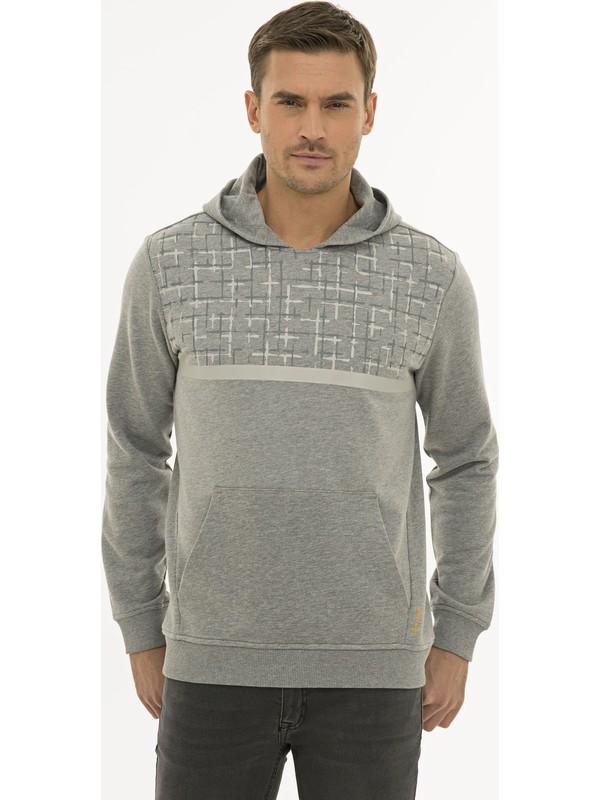 Pierre Cardin Erkek Gri Melanj Regular Fit Sweatshirt 50231607-VR086