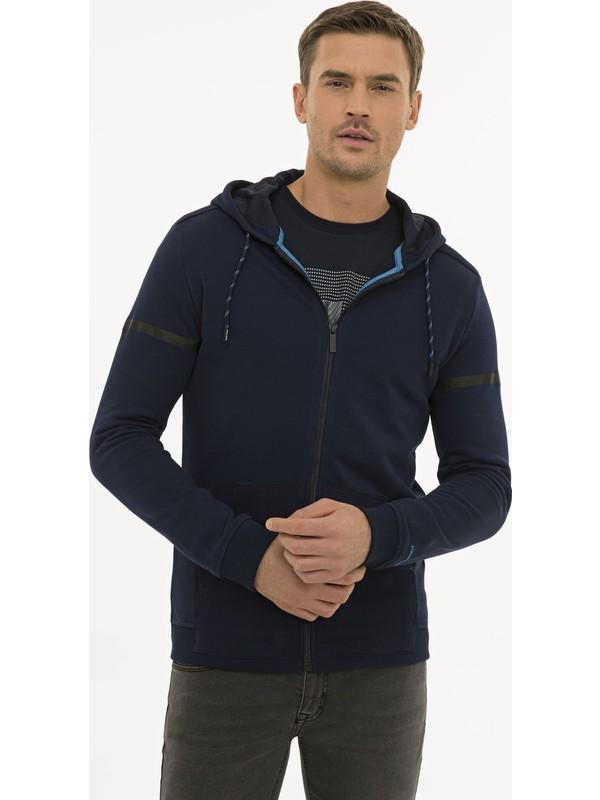 Pierre Cardin Erkek Lacivert Regular Fit Kapişonlu Sweatshirt 50227595-VR033