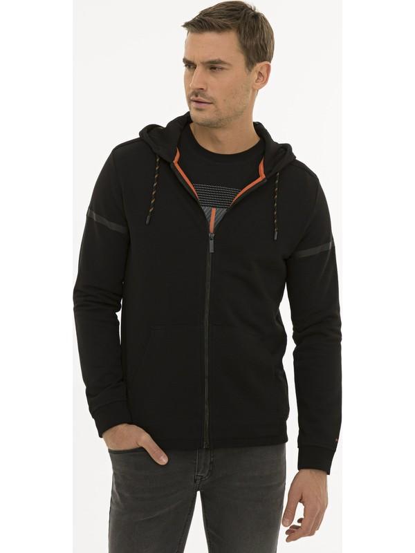 Pierre Cardin Erkek Siyah Regular Fit Kapişonlu Sweatshirt 50227595-VR046