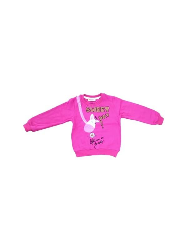 Bersu Kız Çocuk Dar Kalıp Zürafa Desen Çift Taraf Baskılı Sweatshirt