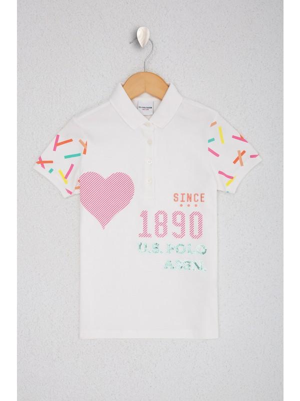 U.S. Polo Assn. Kız Çocuk Beyaz T-Shirt 50224005-VR184