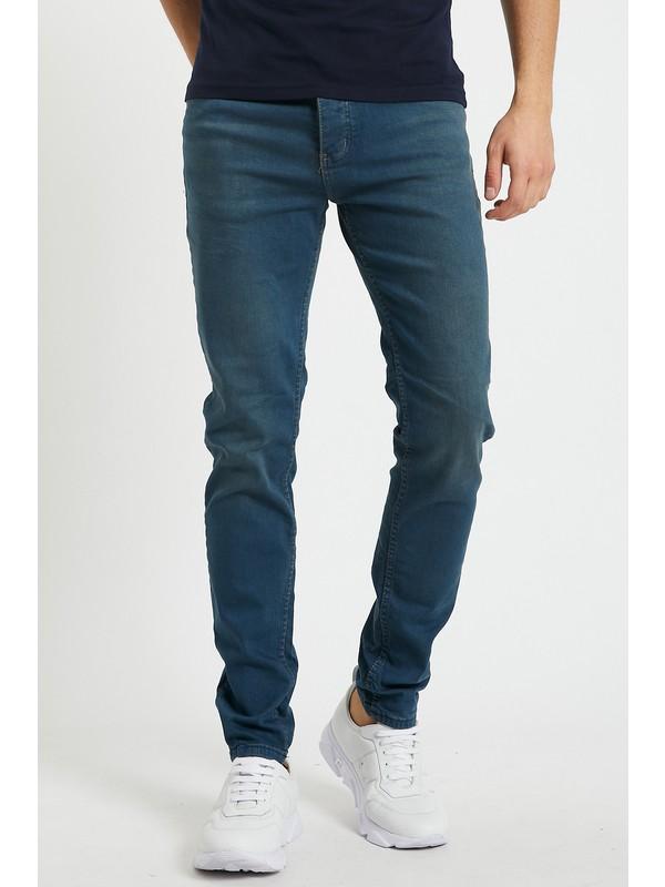 Serseri Jeans Slim Fit Erkek Hafif Tintli Koyu Mavi Renk Klasik Pantolon