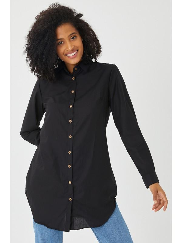 Maldia Düğmeli Siyah Büyük Beden Tunik Siyah 44