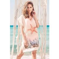Dosimira Kadın Pamuk Plaj Elbisesi Pareo Plaj Giyim Deniz Yıldızı