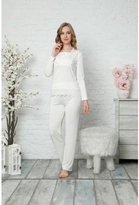 Alimer Dantelli Bayan Pijama Takımı Ekru