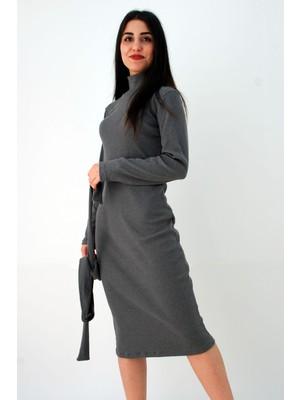 Balıkçı Yaka Uzun Kollu Antrasit Triko Elbise