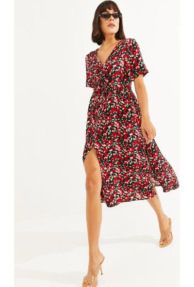 Thil Kadın Çiçek Desenli Boydan Düğmeli Kuşaklı Elbise 2187-THL M
