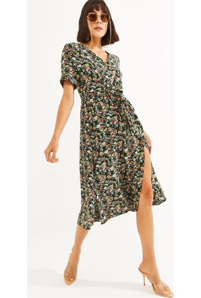 Thil Kadın Çiçek Desenli Boydan Düğmeli Kuşaklı Elbise 2187-THL L