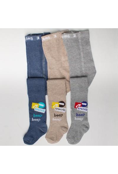 Ilbaş 3'lü Trafik Pamuklu Erkek Çocuk Külotlu Çorap