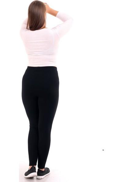 Almila Büyük Beden Düz Siyah Kadın Tayt 4001B