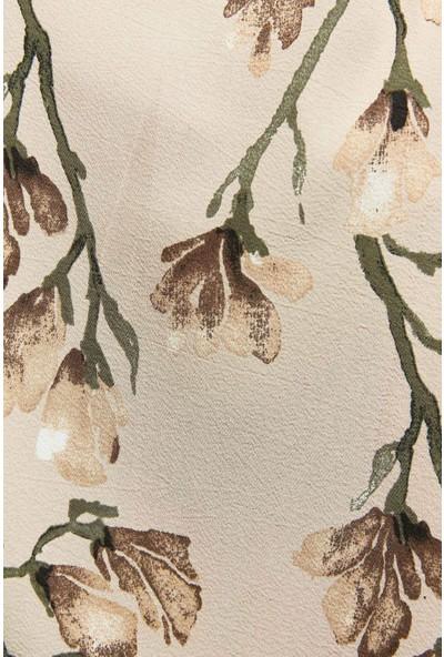 Modakaşmir Flora Serisi Magnolia Branches Desenli Şal Mor