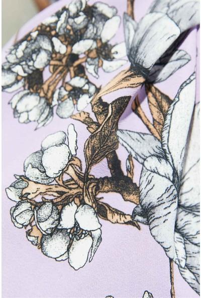 Modakaşmir Flora Serisi Magnolia Desenli Şal Mor