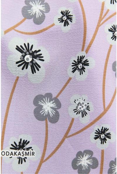 Modakaşmir Flora Serisi Cherry Blossom Desenli Şal Mor