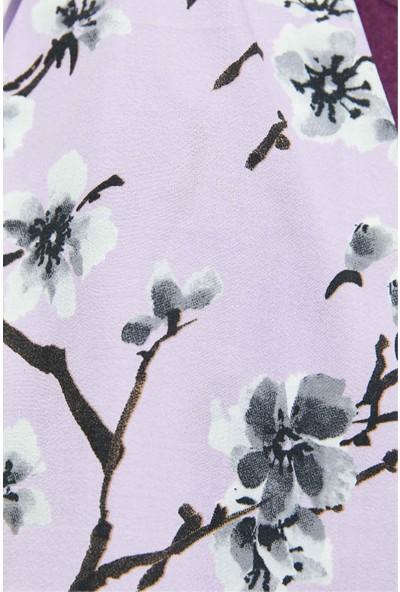 Modakaşmir Flora Serisi Begonia Desenli Şal Mor
