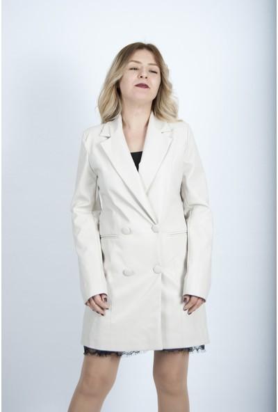 Uzun Kadın Deri Blazer Ceket Beyaz