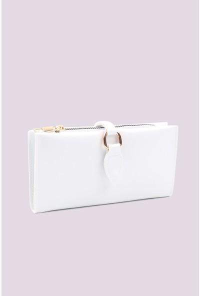 By Özgün Tasarım Yumuşak Derili Beyaz Tokalı ve Çok Bölmeli Kadın Cüzdan