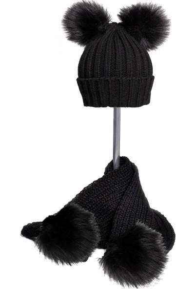 Baby Dora Çift Siyah Ponponlu Siyah Bere & Atkı Takım