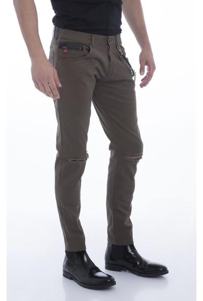 Cekmon Dizde Yırtık Detaylı Fermuar Aksesuarlı Slim Fit Kot Pantolon Green-30