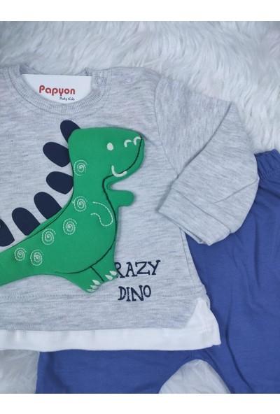 Papyon Baby Kids Kabartma Dinolu Dinazorlu Erkek Bebek Mevsimlik Eşofman Takım