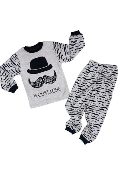 Mini Bird Bıyık Desenli Erkek Pijama Takımı 1-2-3 Yaş