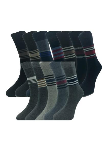 Çekmece 12'li Ekonomik 4 Mevsim Erkek Sıkmayan Karışık Renk Çizgili Soket Çorap