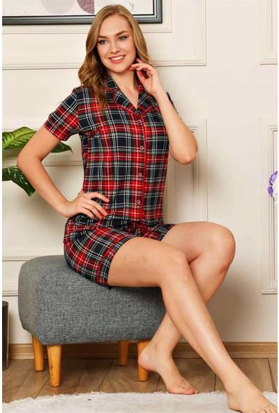 Alimer %100 Pamuk Bayan Yazlık Şortlu Pijama Takımı Ekose Desen