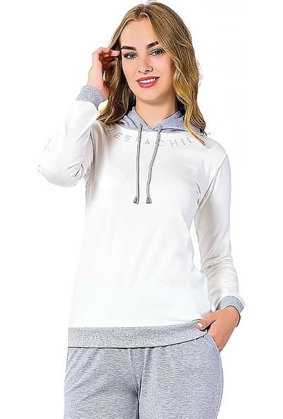 Alimer Kışlık Kapşonlu Spor Kesim Kadın Pijama Takımı