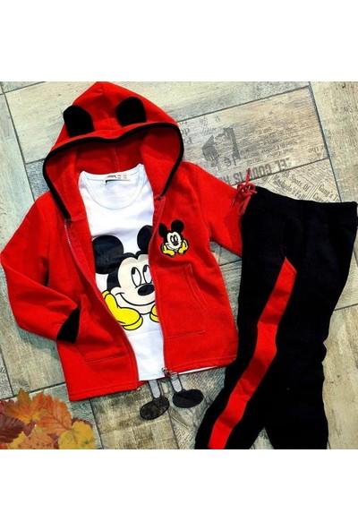 Mickey Mouse 3parça Tarz Kapşonlu Takım