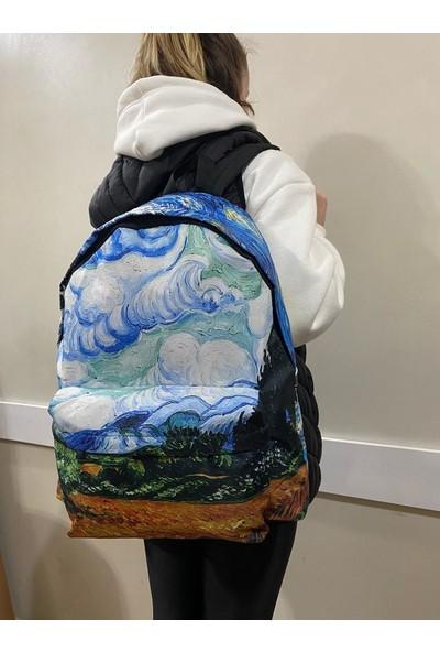 Differ Van Gogh Açık Mavi Sırt Çantası Su Geçirmez Kumaş