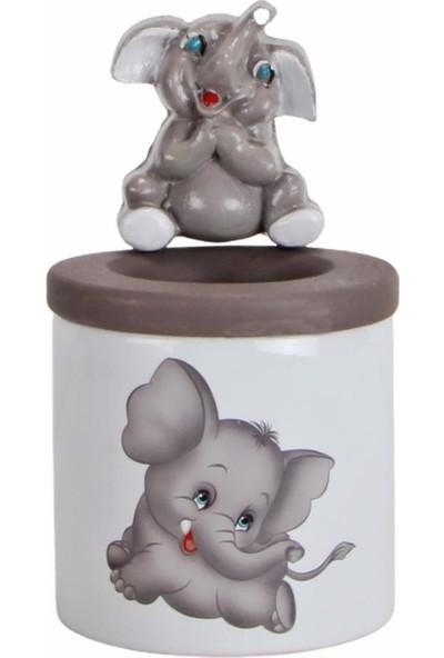 Hediyekanalı Sevimli Gri Fil Peluş Oyuncak 25 cm Fil Biblolu Kalemlik Fil Kupa Hediye Seti Sevgiliye Hediye