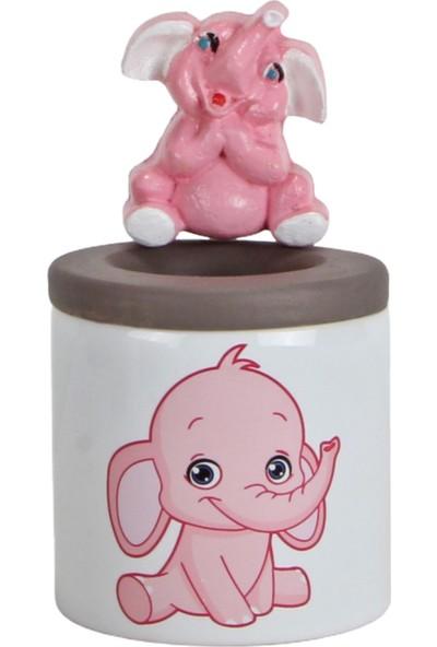 Hediyekanalı Sevimli Pembe Fil Peluş Oyuncak 25 cm Fil Biblolu Kalemlik Fil Kupa Sevgiliye Hediye Seti
