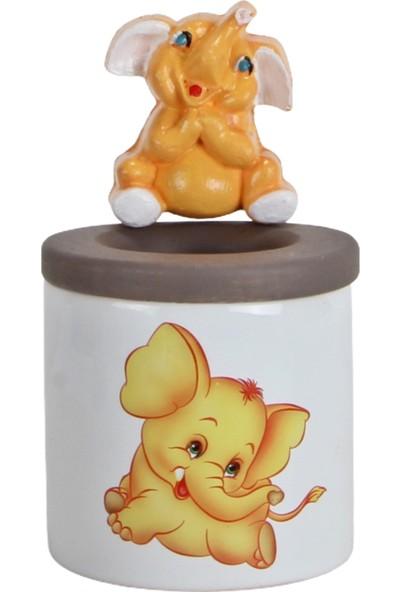 Hediyekanalı Sevimli Sarı Fil Peluş Oyuncak 25 cm Fil Biblolu Kalemlik Hediye Seti Arkadaşa Hediye