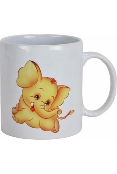 Hediyekanalı Sevimli Sarı Fil Peluş Oyuncak 25 cm Fil Tasarımlı Kupa Hediye Seti
