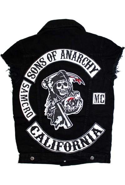 Modaroma Sons Of Anarchy Unisex Kolsuz Siyah Kot Yelek