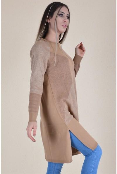 Butik Buruc Kadın Bisküvi Simli Pike Örgülü Tunik