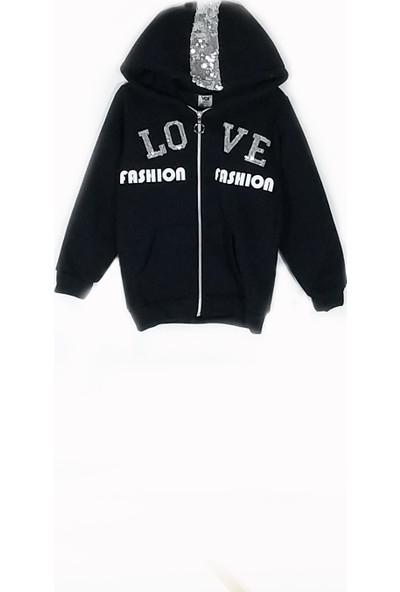Voi Kız Çocuk Love Nakışlı Kapüşonlu Fermuarlı 3 'iplik Tek Ceket