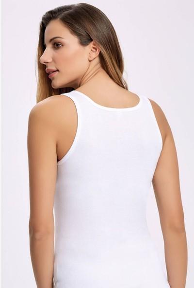 İlke İç Giyim Ilke 2206 Gürürlü Geniş Askılı Beyaz Kadın Atlet 5 Adet