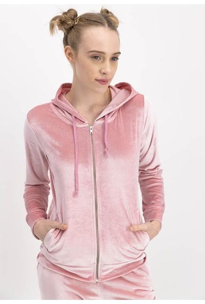 RolyPoly Arnetta Pembe Homewear Kadife Kadın Eşofman Takımıı