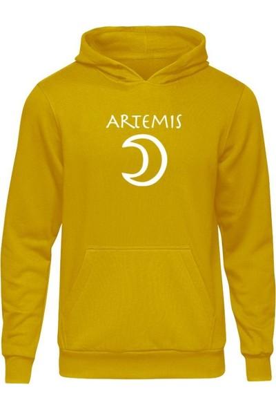 Fandomya Antik Yunan Artemis Sarı Kapşonlu Hoodie