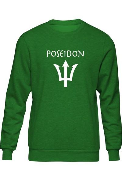Fandomya Antik Yunan Poseidon Yeşil Sweatshirt