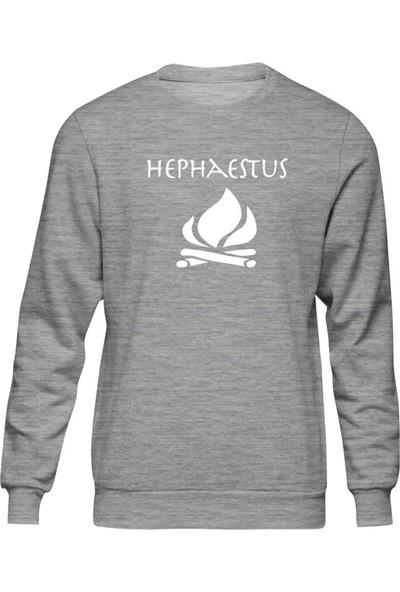 Fandomya Antik Yunan Hephaestus Gri Sweatshirt