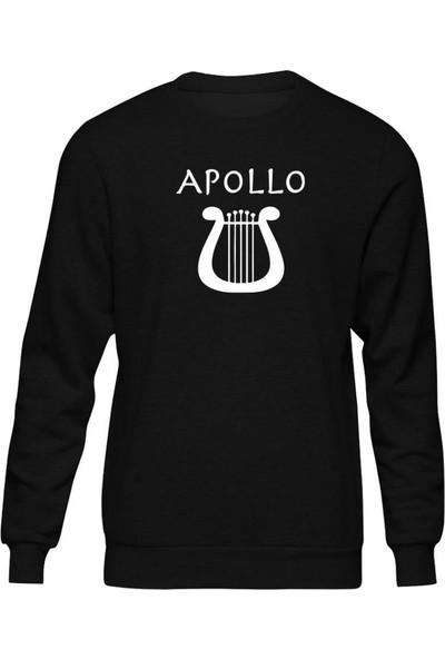 Fandomya Antik Yunan Apollo Siyah Sweatshirt