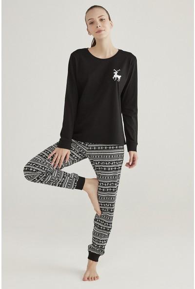 Penti Siyah Family Fairisle Pijama Takımı