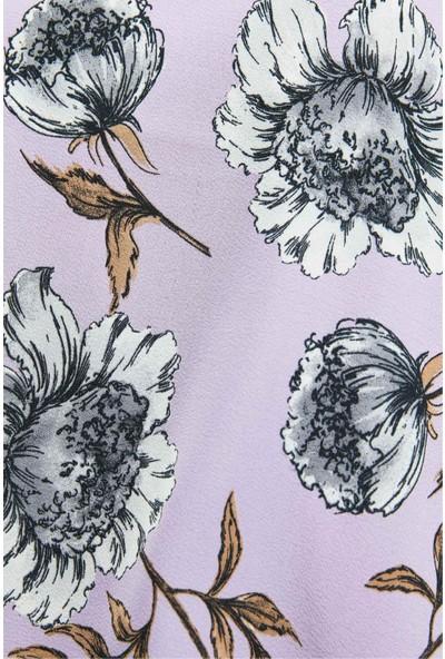Modakaşmir Flora Serisi Peonies Desenli Şal Mor