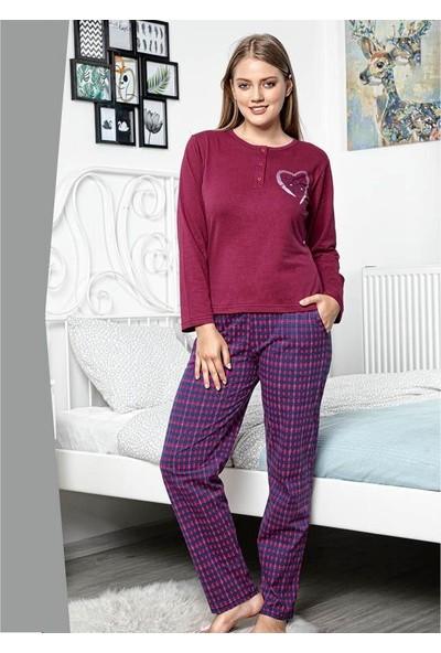 Akare 427 Pamuklu Likralı Memsimlik Kadın Pijama Takımı Ev Pijaması